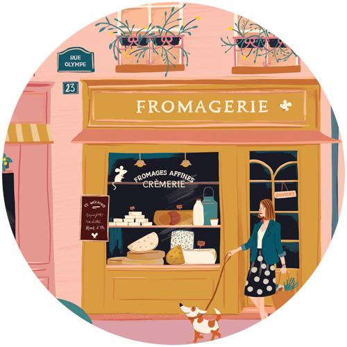 illustration fromagerie crémerie flore petit. Rue de paris